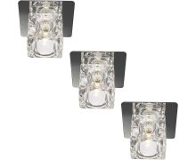 GLORY recessed spot GLASS set of 3 G4 DISCOUNTED Malta, 		    							Reccessed & Soffit Malta, The Light Shop Malta Malta